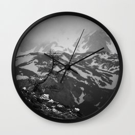 Lonely tree with stunning view on mountains Wall Clock