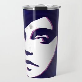street art style girl in blue and pink on marble pattern Travel Mug