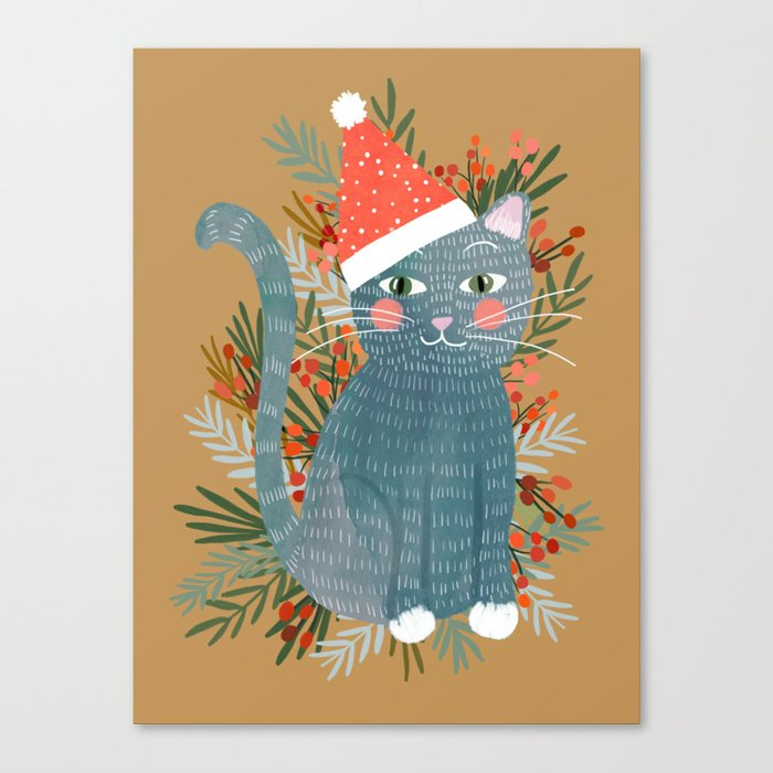 Blue Cat cute christmas xmas tree holiday funny cat art cat lady gift unique pet gifts Canvas Print