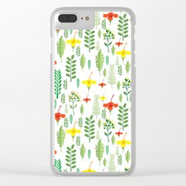 Colorful orange yellow green tropical floral Clear iPhone Case