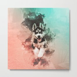 Husky Abstract Watercolor Painting Metal Print