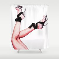 heels Shower Curtains featuring Hot Heels by Erin Conover