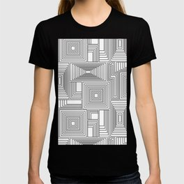 Black and white geometric maze pattern T-shirt