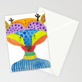 Cute Deer Watercolor Illustration Stationery Cards