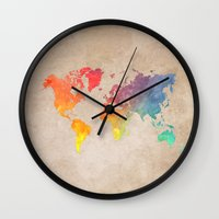 world maps Wall Clocks featuring World Map Maps by jbjart