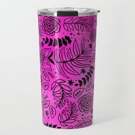 Black Outline Floral on Hot Pink Watercolor Travel Mug
