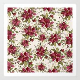 Poinsettia Pattern Art Print