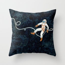Astronaut Floating Through Space Throw Pillow