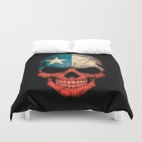 chile Duvet Covers featuring Dark Skull with Flag of Chile by Jeff Bartels