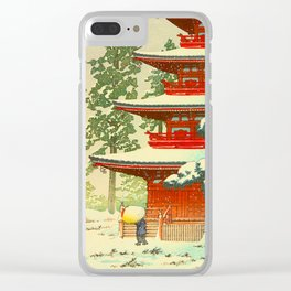 Vintage Japanese Woodblock Print Japanese Shinto Shrine Red Pagoda With Snow Capped Trees Clear iPhone Case