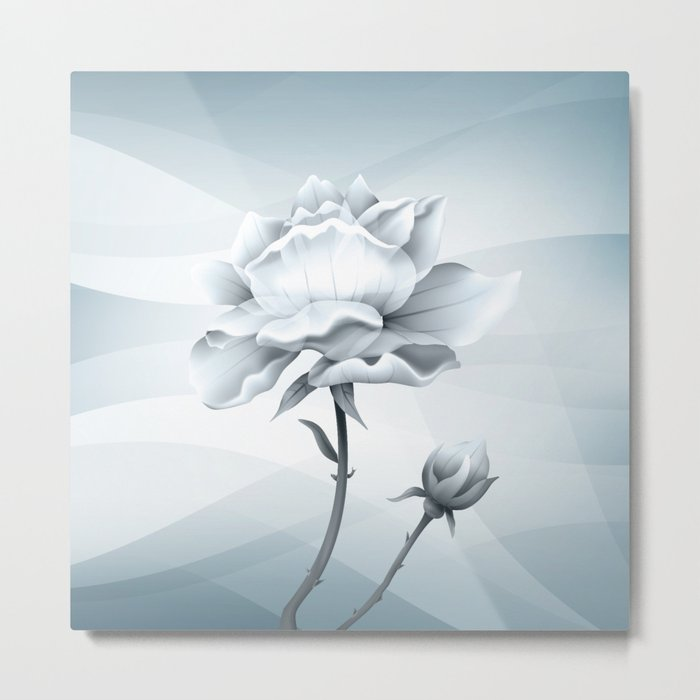 White Rose In Lovely Light Metal Print