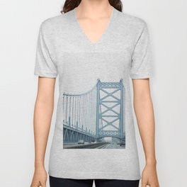 The Ben Franklin Bridge Unisex V-Neck