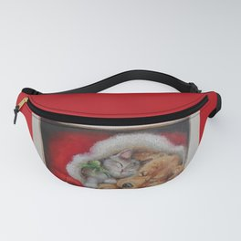 Cute pets Dog and Cat sleeping in the Santa's hat Christmas illustration Fanny Pack