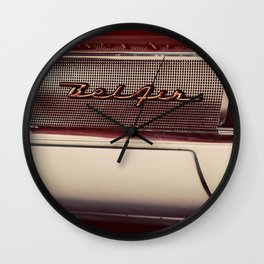 Classic Car Photography Chevy Belair Logo Wall Clock
