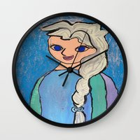 frozen elsa Wall Clocks featuring Elsa! by Izzy Tan