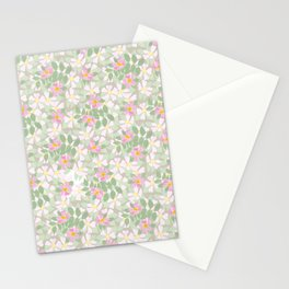 Pink Dogroses on Taupe Stationery Cards