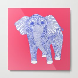pink and blue elephant square Metal Print