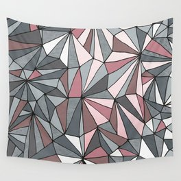 Urban Geometric Pattern on Concrete - Dark grey and pink Wall Tapestry