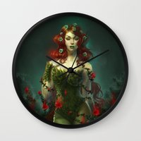 poison ivy Wall Clocks featuring Poison Ivy by franzkatter