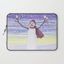snowman with tufted titmice Laptop Sleeve