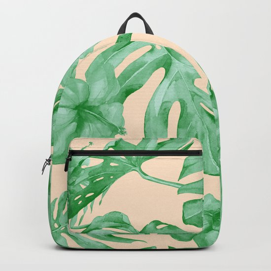 Tropical Coral Green Leaves Flower Pattern Backpack