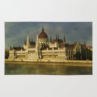 budapest Area & Throw Rugs featuring Parlament Budapest by eMBie
