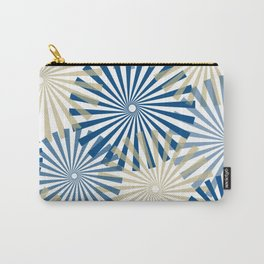 Modern Abstract Fireworks Pinwheel Line Art in Classic Blue and Warm Beige Carry-All Pouch
