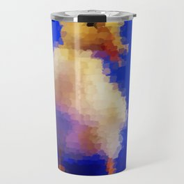 pretty little cute duck painted in blue background Travel Mug