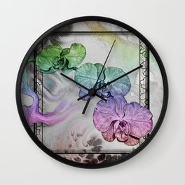 Phalaenopsis Orchid in Black and White Wall Clock