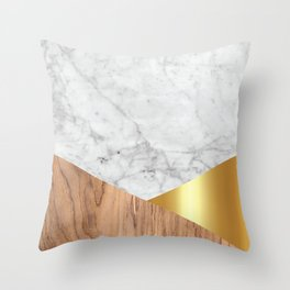 Geometric White Marble - Wood & Gold #884 Throw Pillow