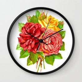 Rose Flower Bouquet Wall Clock