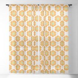 Jivin' - 70's retro throwback art floral flower motif decor hipster Sheer Curtain