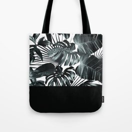 Palm Leaves and Black Tote Bag