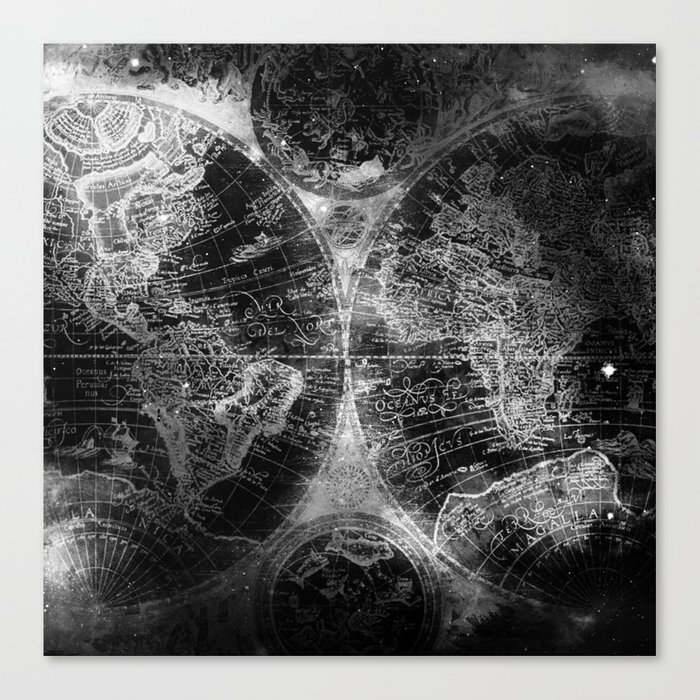 Antique Map Space Stars Black and White Canvas Print