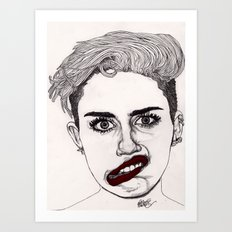 Miley with Red Lips Art Print