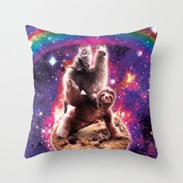 Space Cat Llama Sloth Riding Cookie Throw Pillow