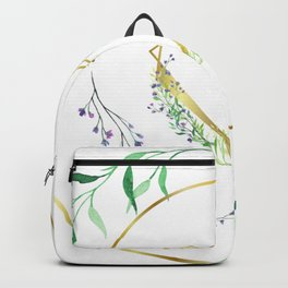 Golden Heart Frame Decorated with Purple Flower/Watercolor Floral Frame Backpack