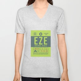 Baggage Tag B - EZE Buenos Aires Argentina Unisex V-Neck