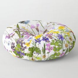 Pressed And Dried Midsummer Flowers Meadow Floor Pillow