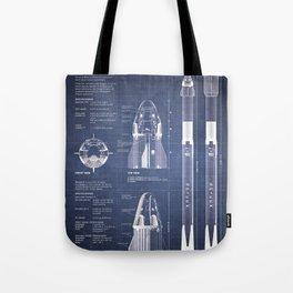 NASA SpaceX Crew Dragon Spacecraft & Falcon 9 Rocket Blueprint in High Resolution (dark blue) Tote Bag