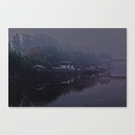 Boats in the morning mist  Canvas Print