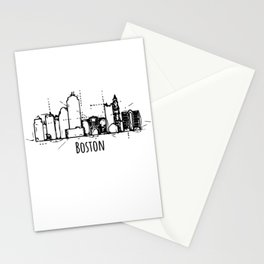 Boston Skyline City Art Stationery Cards