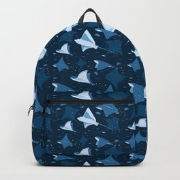 Blue stingrays pattern Backpack