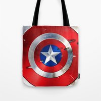 shield Tote Bags featuring SHIELD by Smart Friend