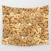 cookies Wall Tapestries featuring Homemade Chocolate Chip Cookies by BlackStrawberry
