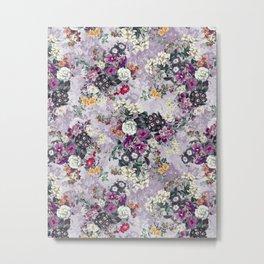 Botanical Flowers Purple Metal Print