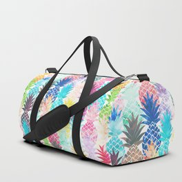 Hawaiian Pineapple Pattern Tropical Watercolor Duffle Bag