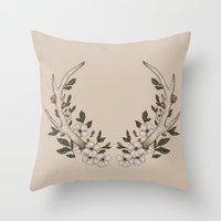 antler Throw Pillows featuring Floral Antler by Jessica Roux