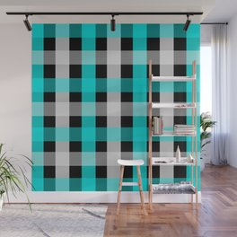 blue black checks Wall Mural