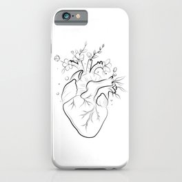Human heart with flowers iPhone Case